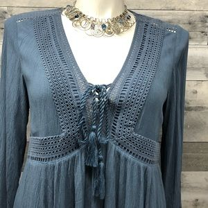 Torrid Peasant Dress Blue BoHo Hippy Style 1X